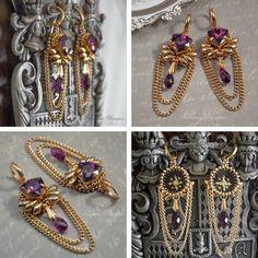 В этом мастер-классе мы научимся создавать серьги «Королевский пурпур» / «Royal Purple» для прекрасных принцесс. Я долго смотрела на чудесные кристаллы Сваровски ювелирной огранки Trilliant и вздыхала о том, что мое любимое плетение может скрыть их изюминку, поэтому сегодня мы воспользуемся вышивкой. Материалы и инструменты: бисер круглый Miyuki 11/0 и Miyuki 15/0; бисер Longmagatama; цеп…