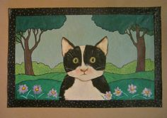 Cat art rug canvas floor cloth painted floor by sandymastroni, $90.00