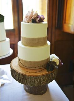Our cake will be a two tier cake like this standing on a rustic tree trunk slice