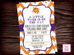 CLEMSON BABY SHOWER, Clemson Baby Shower Invite, Clemson Tigers Shower Invite, Clemson Shower, Clemson Tigers Baby Shower, Clemson by BlissfulBethDesigns on Etsy