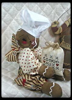 ♥ Primitive Raggedy Gingerbread Baker Shelf Sitter w Cookie Mix Ornie ♥   eBay