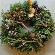Nature's Bounty in this gorgeous Rustic Christmas wreath! Christmas Flowers, Natural Christmas, Rustic Christmas, Winter Christmas, Christmas Holidays, Christmas Crafts, Christmas Decorations, Beautiful Christmas, Wreaths And Garlands