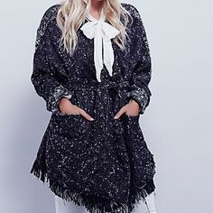 FREE PEOPLE Jacket Cardigan Slouchy Wrap Coat Top Available Sizes: XS and Small. New with tags.  $268 Retail + Tax.  Oversized lined tweed blazer-style slouchy wrap coat with loose fringe.  Front slip pockets & contrast trim. Adjustable belted waist tie.     ❗️ Please - no trades, PP, holds, or Modeling.   💰 Bundle 2+ items for a 20% discount!   👠 Stop by my closet for even more items from this brand!  ✔️ Items are priced to sell, however reasonable offers will be considered when submitted…