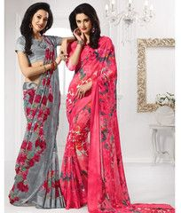 Grey/Pink Color Georgette Casual Party Sarees : Aashni Collection  YF-41613