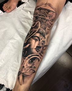 Learn more about tattoo styles and the work of Ddierre Botelho - ddierre (Tattoo artist). Buddha Tattoo Design, Buddha Tattoos, Buddhist Symbol Tattoos, Dope Tattoos, Hand Tattoos, Cool Forearm Tattoos, Tattoos For Guys, Japanese Sleeve Tattoos, Best Sleeve Tattoos