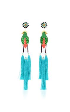 Bird Blue Drop Tassel Earrings by Mercedes Salazar | Moda Operandi