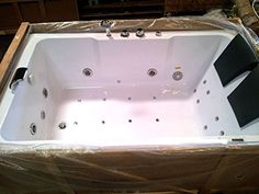 X Bathtub Jetted Whirlpool 2 Person White 14 Massage Jets Built In Heater  Waterfall Faucet FM Radio SPA Hot Tub Model