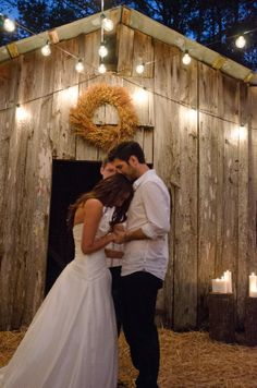 Our Barn Wedding | Bride and Groom at the alter | Outdoor, Fall, Rustic Wedding, Outdoor Lighting