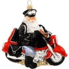 Biker Santa Glass Ornament