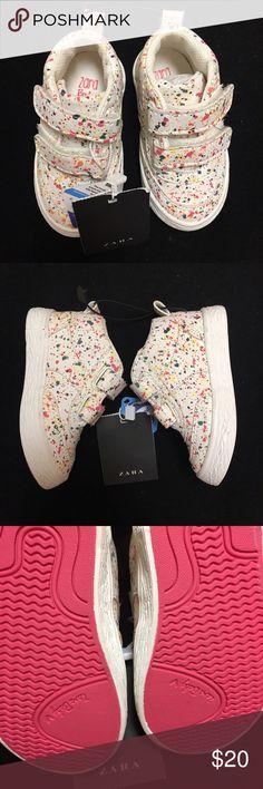 Zara Baby Sneakers Brand new, never worn. Zara baby paint splatter Sneakers with velcro straps. Size 2 Zara Shoes Baby & Walker