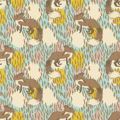 Playful Fox in Blue by Sarah Watts for Blend Fabrics - lovelovelovelovelove
