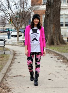 graphic tee + printed leggings + pop of pink