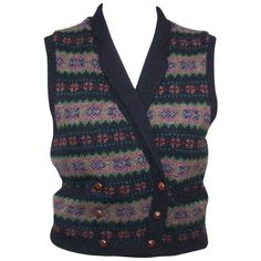 Preowned 1970's Ralph Lauren Fair Isle Sweater Waistcoat Vest ($150) ❤ liked on Polyvore featuring outerwear, vests, multiple, sweater vest, ralph lauren vest, ralph lauren, vest waistcoat and waistcoat vest