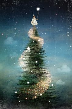 'Royal Sapin' Poster by Catrin Welz-Stein Christmas Scenes, Christmas Art, Christmas Greetings, Vintage Christmas, Christmas Holidays, Christmas Decorations, Christmas Background, Christmas Wallpaper, Christmas Tree Painting