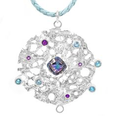 """Meet the love child of I """"am your queen """" and """"Winter lace """" collections. Sterling silver pendant accented with amethysts and topazes on a blue leather cord #queen #superwoman #sterlingsilver #handmadejewelry #oneofakind #designer #lifestyle #atlanta #evelynsadovsky #jewelry #topaz #amethyst #ювелирка #ручнаяработа #серебро #подвеска #топаз #аметист #кружево #atlanta #atl #atlantajewelry #jewelryforsale #usa #finejewelry #highend #trends#fashiongram #necklace #leather"""