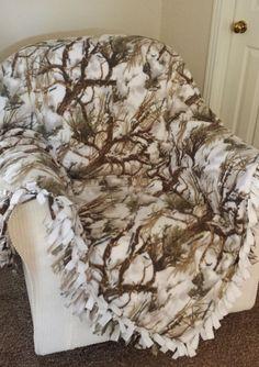True Timber Fleece Snow Camo White Print - Custom Made Fleece Blanket - Choice of No Sew or Machine Sewn - by http://RolanisWonderland.com #rolaniswonderland #handmade #etsy