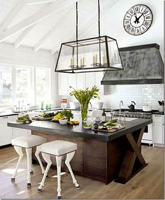 Kitchen with Amazing Glass Light fixture & Zinc Hood