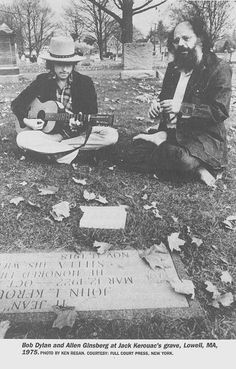 Bob Dylan and Allen Ginsberg at Jack Kerouac's grave.