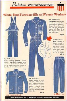 WW2 Women's workwear denim. This was a magazine that showed clothes that women coud buy to work in with the prices.