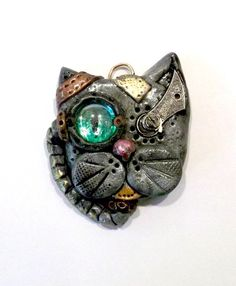 OOAK Steampunk Kitty Cat Vintage Clock Part Mixed Media by mkirby, $25.00