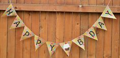 Happy Bday Polka Dot burlap banner with cupcake
