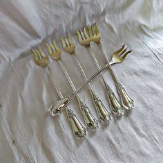 Sterling Silver Sea Food Cocktail Forks by SilverFoxAntiques, $165.00
