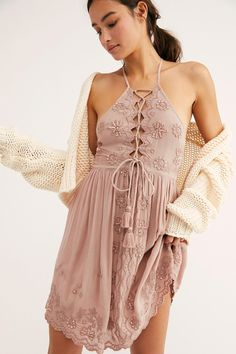 Shake It Up Slip - Light Pink Embroidered Mini Skip Dress - Embroidered Slip Dress - Tassel Slip Dress - Boho Dresses - Boho Mini Dresses - Free People Dresses Backless Maxi Dresses, White Maxi Dresses, Casual Dresses, Dresses Dresses, Pretty Dresses, Dresses Online, Piercings, Short Beach Dresses, Edgy Outfits