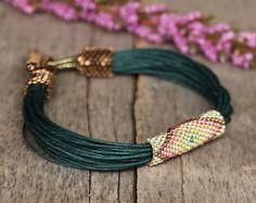 Green tribal bracelet African jewelry Linen bracelet Ethnic jewelry Beaded bracelet Summer Colorful beadwork ethnic multicolor bracelet