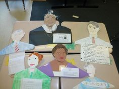 biography hangers (made of clothes hangers) - the kids might have to do a biography report one day.