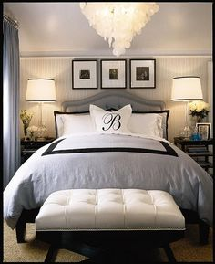 pretty gray bedroom. love the white comforter with Initial monogram