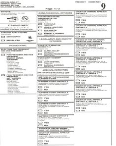 Sample ballot from Oklahoma City, Oklahoma for 2012 election