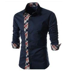 Plaid Mis-Matched Casual Dress Shirt