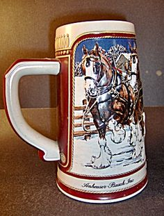 This is a Budweiser holliday stein from It has the Budweiser Clydesdale horses bulling a wagon with 2 men in red and a dalmatian dog Budweiser Steins, German Beer Mug, Clydesdale Horses, Beer Company, Dalmatian Dogs, Brew Pub, Beer Mugs, Rose Wallpaper, Vintage Books