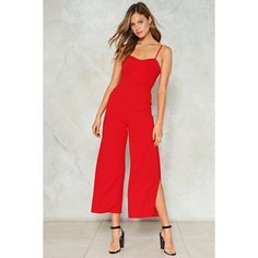 Nasty Gal Melody of Love Sweetheart Jumpsuit (€51) ❤ liked on Polyvore featuring jumpsuits, red, red cami, nasty gal, cami jumpsuit, red wide leg jumpsuit and jump suit