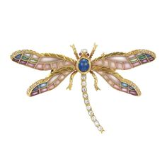 Gold, plique a jour enamel, sapphire & diamond dragonfly brooch...♡