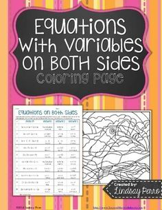 Coloring pages give your students a break from traditional worksheets and give you a second method of checking papers. This resource assesses student understanding of solving multi-step equations with variables on both sides.