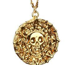 Piratas do caribe asteca colar de ouro crânio colar pingentes para homens barato por atacado grátis frete