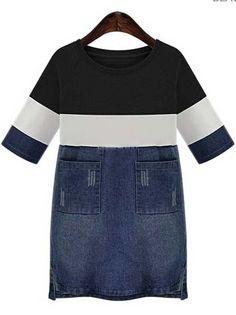 Black Contrast Denim With Pockets Dress -SheIn(Sheinside)