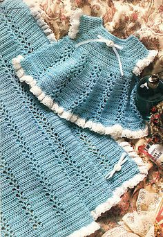 GORGEOUS Eyelet Lace Baby Dress & Afghan/Crochet Pattern