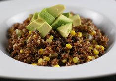 Red Quinoa with Avocado, Black Beans and Corn - Rice and Beans Budget Recipe