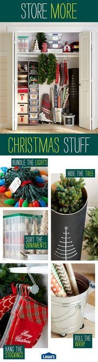 Decorating for Christmas is simpler and more convenient with clever organizing solutions. Store ornaments, bundled lights, supplies, and ribbon in neatly labeled clear bins. Wreaths, garland, and stockings are protected when hung on an adjustable closet rod. Take the stress out of the holidays with these and more storage tips!