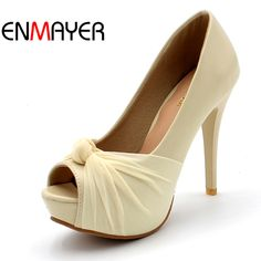 bd973bf68dd ENMAYER Fashionsexy High Heels Sandals Women Shoes Slip-on Pumps Cover Heel  Platform Round Toe
