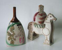 Gilbert-Portanier-Vase-Unikat-Studiokeramik-Ritzdekor-Handgemalt-Signiert-1975