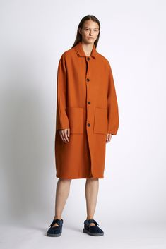 GBP Unisex Wool blend woven coat with a double collar and patch pockets to the front. Oversized sleeves, raw edge seam details and a vent to the back body. Cashmere Coat, Raw Edge, Light In The Dark, Wool Blend, Normcore, Pockets, Unisex, Autumn, Winter