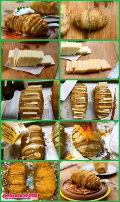 Patatesi ikinci resimdeki gibi ince ince kesiyoruz. Sonra Bir yerde peynirleri ince ince dilimliyoruz. Resimde 2 farklı peynir kullanılmış. Kaşar peyniri v.. Kaşarlı-tereyağlı patates yemeye doyamayacaksınız..