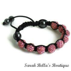 Storm Pink Macrame Beaded Bracelet Unisex by SarahBellasBoutique, $25.00