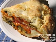 Savory Tomato, Mozzarella, and Basil Pesto Pie with an Easy Cheesy Biscuit Crust.this brings new meaning to tomato pie! The biscuit crust is incredible! The tomato pesto is a level above. Tomato Pie, Tomato Pesto, Basil Pesto, Tomato Mozzarella, Popular Recipes, Great Recipes, Favorite Recipes, Amazing Recipes, Delicious Recipes