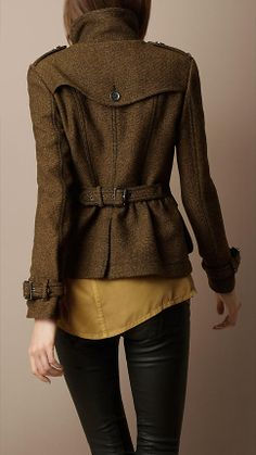Love the back detailing on this military style jacket from Burberry
