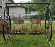 antique wagon wheel ideas | Items similar to Antique Vintage Hand Made Wagon Wheel Swing Wrought ...