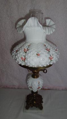 VINTAGE  FENTON  Milk Glass HOBNAIL- RARE Lamp- ROSES, SIGNED DIANE BARBOUR
